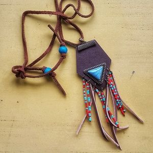 handmade southwestern inspired leather necklace